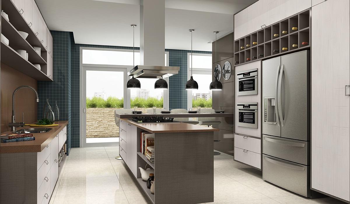 Cozinha Planejada Com Ilha Em Formato L Office E Home