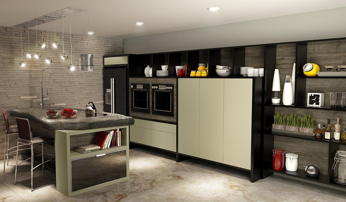 Cozinha Planejada Pequena Com Ilha Office E Home
