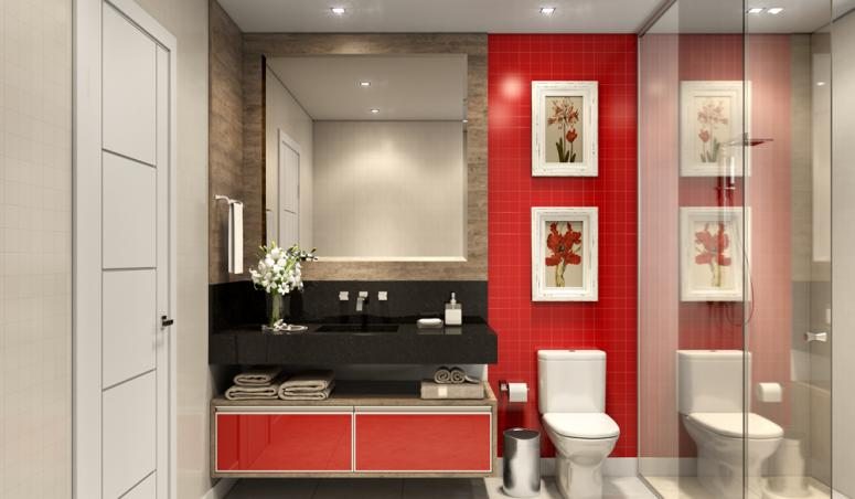 Banheiro Planejado Pequeno  Office e Home -> Banheiros Planejados Vermelho