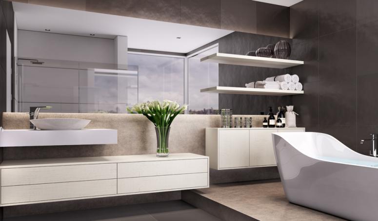 Banheiro Planejado Grande com Banheira  Office e Home -> Banheiros Planejados Grandes