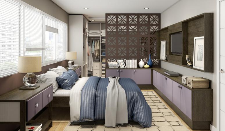 Quarto Planejado Casal Pequeno com Closet ~ Quarto Planejado Pequeno Casal Com Closet