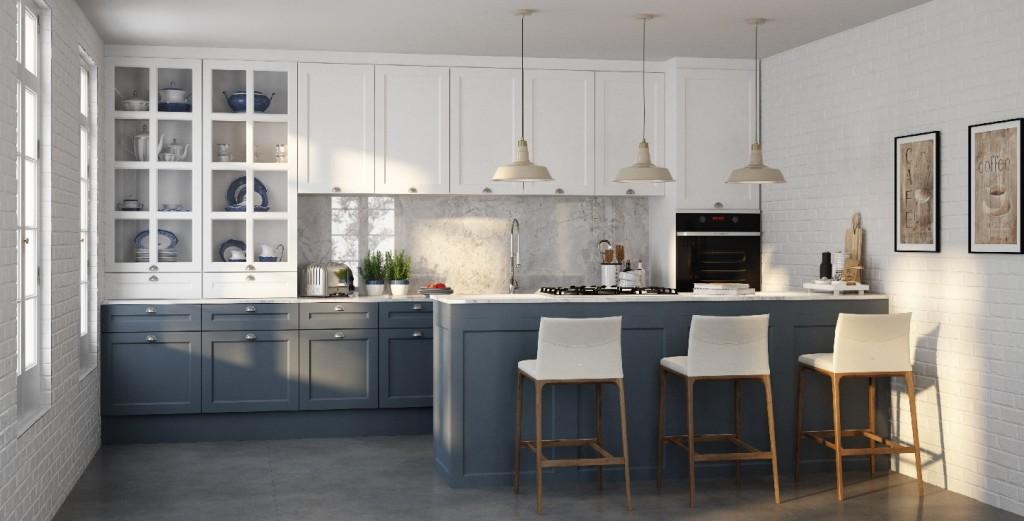 Cozinha Provençal branca e Azul